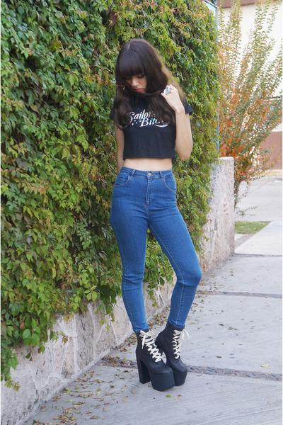 blue high waisted pull&bear jeans - black salem UNIF boots