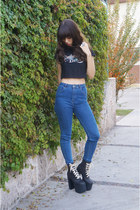 blue high waisted pull&bear jeans - black salem UNIF boots