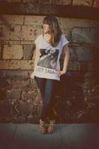 white Zara t-shirt - brown wedges
