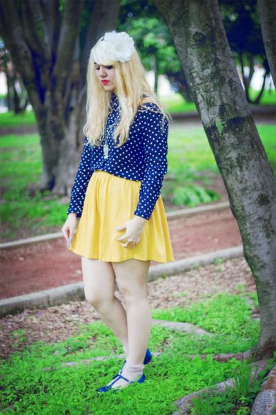 mustard Zara skirt - light pink Zara socks - navy Oysho flats