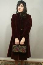 brick red Vintage Gingham Dress dress - crimson Vintage Velvet Coat coat - navy