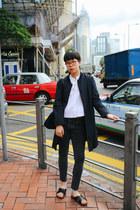 navy COS jacket - Zara top - H&M sandals