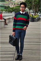 navy navy green red American Apparel sweater