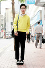 Black-underground-shoes-yellow-zara-sweater