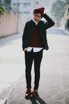 black H&M jeans - brick red asos hat - dark gray Zara jacket