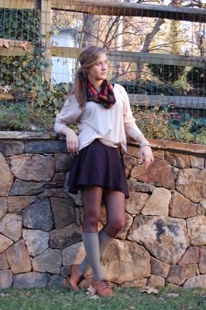 beige BCBGeneration shirt - black skirt - brick red vintage scarf - olive green