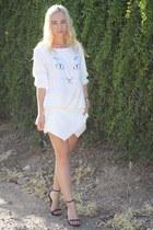 kitty face Choies sweater - wrap skort Zara skirt - basic sandal Zara heels