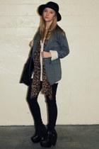 black platform Ebay boots - black skinny Urban Outfitters jeans - black wide bri