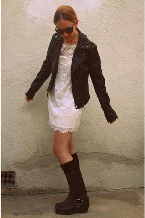 black Forever 21 jacket - white Forever 21 dress - black American Apparel socks