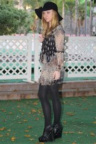 beige paisley print Ebay dress - black floppy Forever 21 hat - black studded For