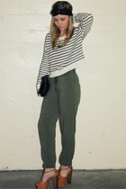 black headband Forever 21 hat - white cropped striped H&M sweater - forest green