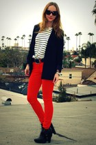 red skinny H&M jeans - black zoe sam edelman boots - black H&M blazer