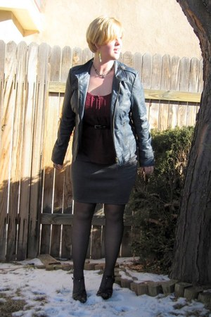 blue leather jack jacket - opaque Walmart tights - grey Maurices skirt - black t