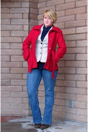 brown heeled Jessica Simpson boots - red Orsay coat - blue Levis jeans - beige M