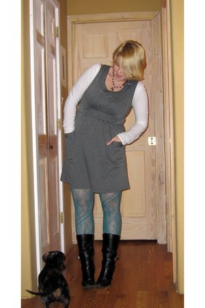 black George boots - journalism modcloth dress - teal Target tights - Old Navy t