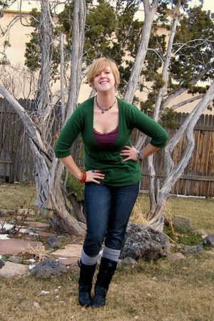 black Jessica Simpson boots - jeggings Maurices jeans - green Mossimo sweater -