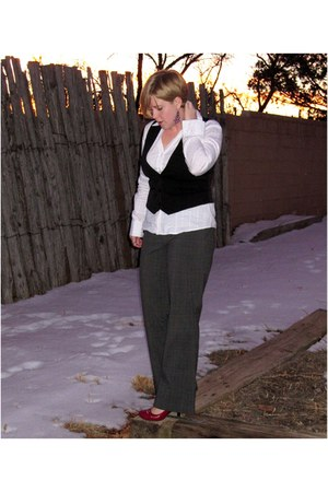 plaid Mossimo pants - silver-lined Maurices blouse - black Maurices vest - purpl