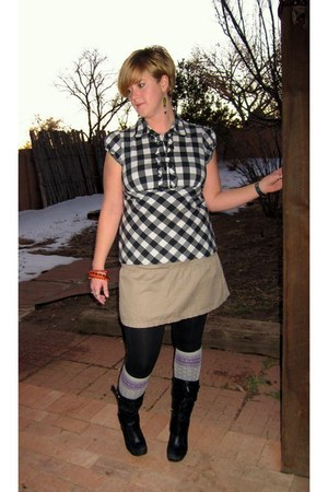 Jessica Simpson boots - Mossimo leggings - purple hearts Mossimo socks - plaid J