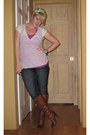 Brown-sam-edelman-boots-jeggings-maurices-jeans-head-unknown-scarf-pink-ta