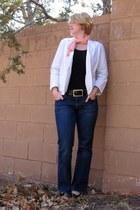 blue H&M jeans - thrifted blazer - orange thrifted scarf - black New Yorker belt