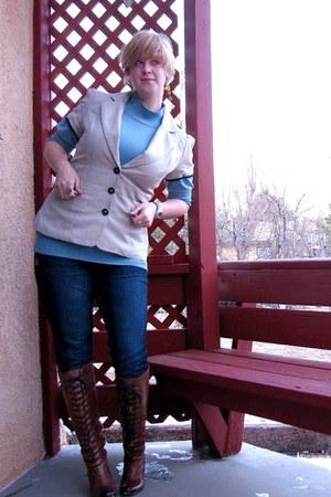 sanford sam edelman boots - jeggings Maurices jeans - beige Maurices blazer - bl