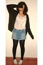blue Zara skirt - black unknown tights - white Zara t-shirt - brown unknown card