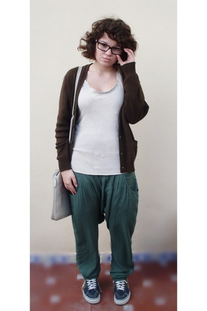 green MCHAMMERS pants - brown thrifted cardigan - beige Zara top - blue Vans sho