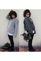 gray Zara leggings - green thrifted jacket - gray BLANCO accessories - white thr