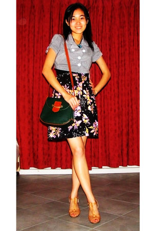 gray blazer - black Ladakh dress - green Dynasty purse - beige Forever New shoes