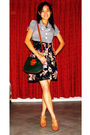 Gray-blazer-black-ladakh-dress-green-dynasty-purse-beige-forever-new-shoes