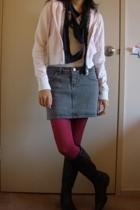 Mango jacket - jeanswest top - Hang Ten skirt - OWN scarf - Cinnamon boots - Tar