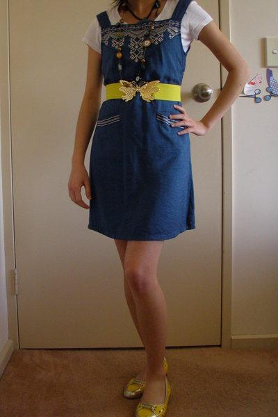 dress - Esprit t-shirt - belt - shoes - diva necklace - diva necklace