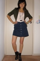 blazer - Sportsgirl top - VJeans skirt - Singapore necklace - Charles & Keith sh