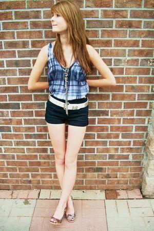 gray calvin klein shirt - black Topshop shorts - white Hot Topic belt - brown An