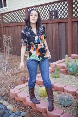 jeans - boots - Lucky Brand blouse -