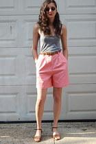 coral bermuda etsy vintage shorts - grey tank American Apparel top - vintage bel