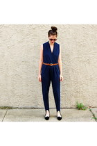 navy vintage romper - black vintage flats - brown beaded vintage belt