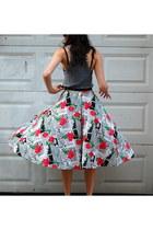 etsy vintage skirt - grey tank American Apparel top - black mesh etsy vintage pu