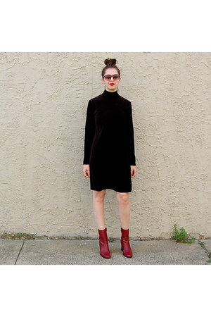 maroon vintage boots - black vintage dress