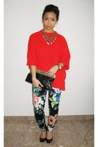 H&M pants - Zara sweater - faux snakeskin Halston Heritage bag