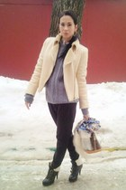 Kurt Geiger boots - vintage jacket - handmade sweater - Louis Vuitton bag - Zara