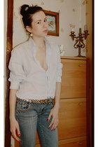 navy Moschino jeans - light blue Ted Lapidus blouse - gold Dolce and Gabbana bel
