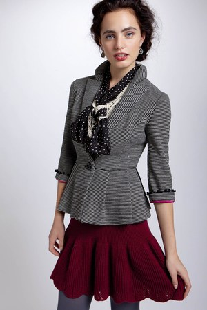 brick red Anthropologie skirt - ivory Anthropologie blazer