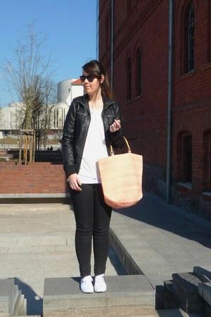 peach H&M bag - white H&M shoes - dark gray Cubus jeans - black Cubus jacket