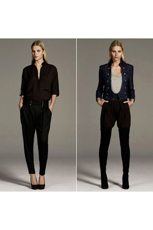 brown Zara shirt - black Zara pants - brown Zara shoes - blue Zara jacket - Zara