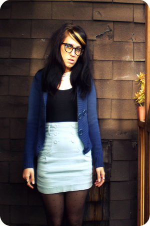 blue planet gold sweater - black American Apparel dress - blue papaya skirt - bl