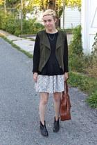 white H&M skirt - black Steve Madden boots - army green Target blazer