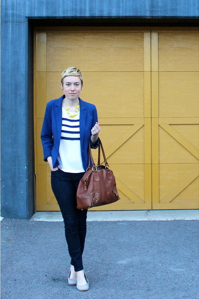 blue blazer - tawny bag - silver flats - white blouse - yellow necklace