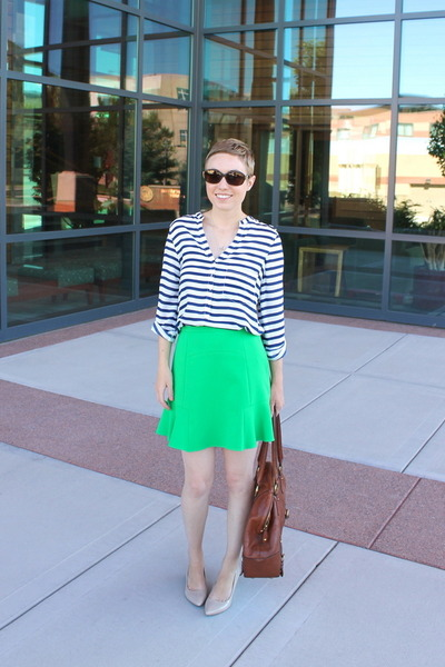 Zara skirt - banana republic bag - Nine West wedges - Zara blouse