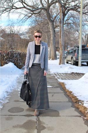 black skirt - heather gray sweater